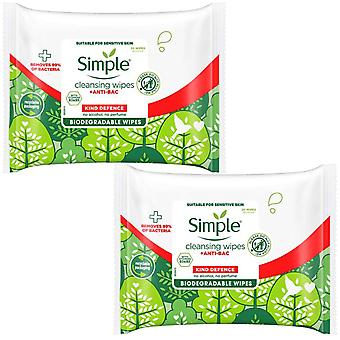 2 Pack of Simple Kind Defence + Anti Bacterial Cleansing Wipes 20pc
