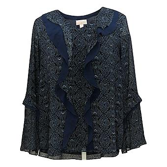 Belle by Kim Gravel Women's Top Ruffle Front Blouse Blue A370353