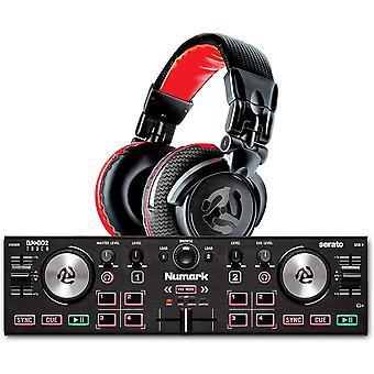 DJ2GO2 Touch + Red Wave Carbon - 2-Deck USB DJ-Controller für Serato DJ mit Mixer/Crossfader +
