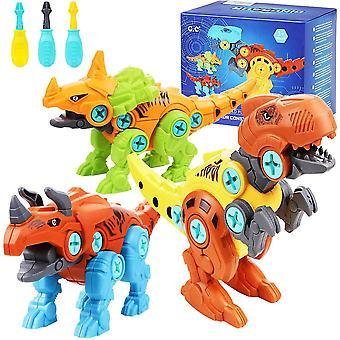 FengChun 3er Dinosaurier Montage Spielzeug mit Schraubendreher Kinder DIY Baustelle Spielzeug STEM
