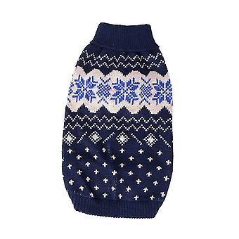 Dog cat clothes christmas snowflake turtleneck knitting sweater winter