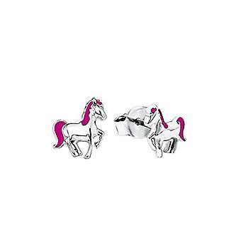 Prinzessin Lillifee 541954 - Earrings for girls, motif: horse, silver 925/1000 enamelled rhodium