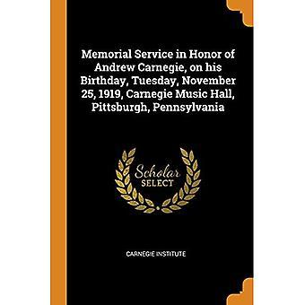 Gedenkgottesdienst zu Ehren von Andrew Carnegie, an seinem Geburtstag, Dienstag, 25. November 1919, Carnegie Music Hall, Pittsburgh, Pennsylvania