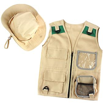Outdoor Adventure Kit For Young Kids Cargo Vest And Hat Set
