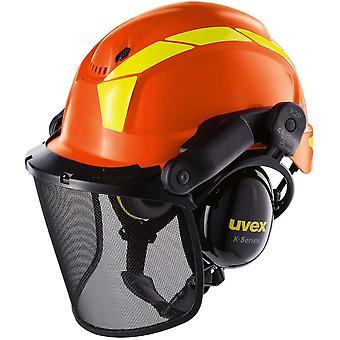 Pheos Forstschutzhelm - Arbeitshelm mit Gehörschutz & Visier - Orange