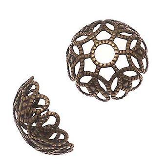 Antiqued Brass Large Ornate Filigree Bead Caps 11mm (20)