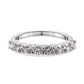 J Francis Halv Evighed Ring Swarovski Zirconia Sølv Gave til kone 0,65ct