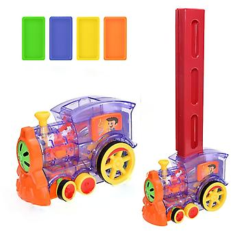 80pcs Domino For Kids Train Car Set Sound Light Automatic Laying Brick Colorful Dominoes Blocks Game Educational DIY Toy Gif