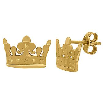 10k Yellow Gold Mens Dc Textured Crown Stud Earrings Jewelry Gifts for Men - .9 Grams