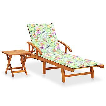 lettino vidaXL con tavolo e pad acacia legno massello