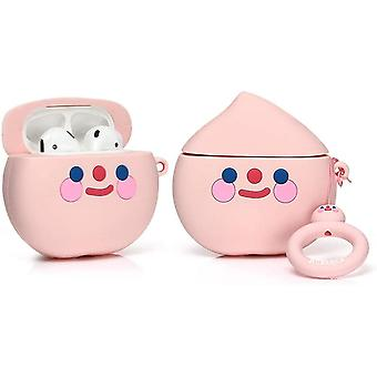 Protective Silicone Case for Apple Airpods 1 and 2, Fruit and Vegetable-Peach Pattern 1pc