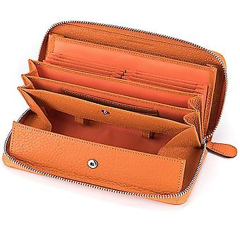 Japanese leather lady long zipper lychee pattern wallet(Color-3)