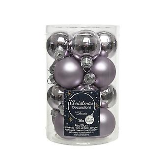 16 3.5cm Frosted Lilac Glass Christmas Tree Bauble Decorations