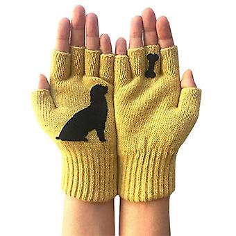 (Gelb) Unisex Dog Bone Lovely Printed Fingerless Handschuhe Outdoor Winter Warm Fäustlinge Neu
