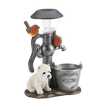 Summerfield Terrace Terrier Puppy with Birds Solar Garden Light with Flower Pot, Pack of 1