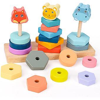 Sorteren, stapelen en pluggen speelgoed geometrische set van