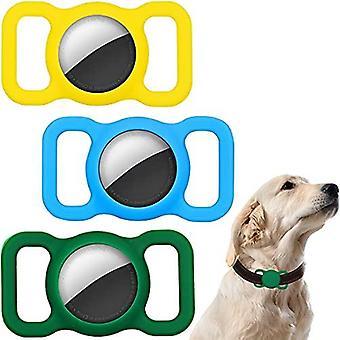 3 أجهزة الكمبيوتر الشخصية حالة السيليكون متوافقة مع طوق الكلب Airtag، الشريحة على الأكمام متوافقة مع أبل Airtag .for الكلب والقط طوق الحيوانات الأليفة Gps سيليكون Protectiv