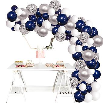 Silver Blue Balloon Garland Kit, 120 Navy Blue And Silver Confetti White Balloon Arches, For Party Wedding Birthday Diy Decoration