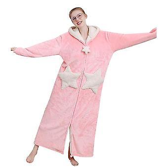 Cămașă de noapte din fleece de pluș pentru femei cu glugă, halat de baie cald lung