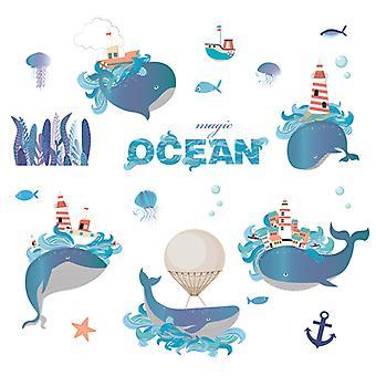blå drøm delfin vegg klistremerke hjem dekal (størrelse: 102cm x 77cm)