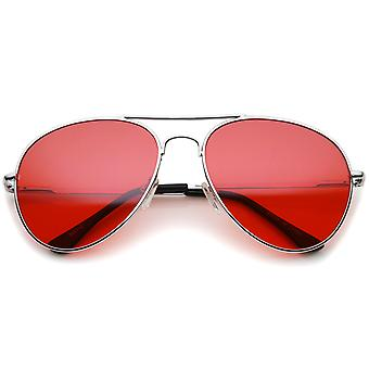 Classic Metal Frame Colored Teardrop Lens Aviator Sunglasses 57mm