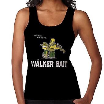 The Walker Bait Walking Dead Rick And Carl Grimes Homer And Bart Simpson Women's Vest