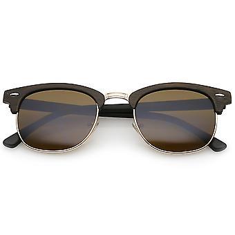 Moderne hout getextureerde hoorn omrande vierkante Lens halve Frame zonnebril 50mm