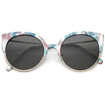 Kobiet pół kot oko okulary Ultra Slim ramiona ramy okrągłe płaskie soczewki 53mm