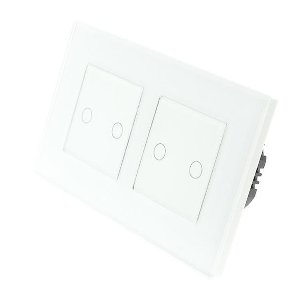 I LumoS White Glass Double Frame 4 Gang 1 Way WIFI/4G Remote & Dimmer Touch LED Light Switch White Insert