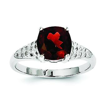 925 Sterling Argento lucido Rhodium Grannet Garnet Diamond Ring - Dimensione anello: da 6 a 8