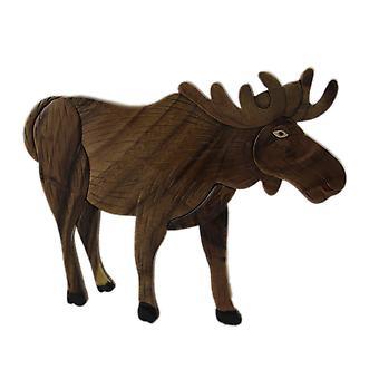Hand Carved Intarsia North American Moose Wood Art Wall Hanging