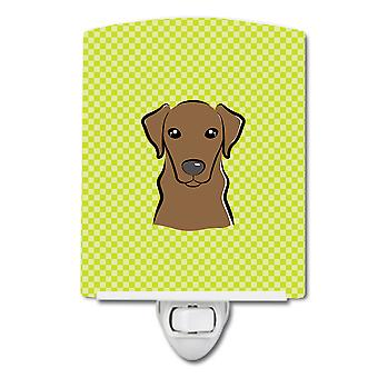 Checkerboard Lime Green Chocolate Labrador Ceramic Night Light