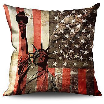 New York Flag Freedom Linen Cushion New York Flag Freedom | Wellcoda