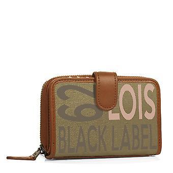 Pression de fermeture du titulaire du portefeuille porte-monnaie femme fermeture à glissière. 8 compartiments pour cartes et documentation. Toile et simili cuir.