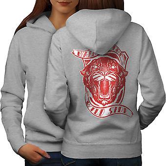 Wild Side Tiger Slogan Women GreyHoodie Back   Wellcoda