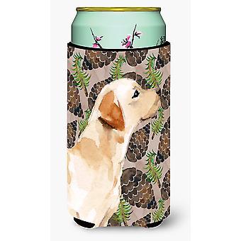 Yellow Labrador #2 Pine Cones Tall Boy Beverage Insulator Hugger