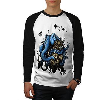 Octopus Horror Monster Men White (Black Sleeves)Baseball LS T-shirt | Wellcoda