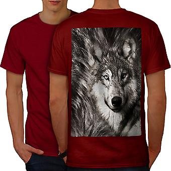 Lonely Wolf Face Men RedT-shirt Back | Wellcoda