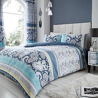 Kira paisley Stripes Duvet Cover Polycotton Printed Floral Bedding Set All Sizes