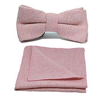 Candy Pink & Cream Herringbone Bow Tie & Pocket Square Set