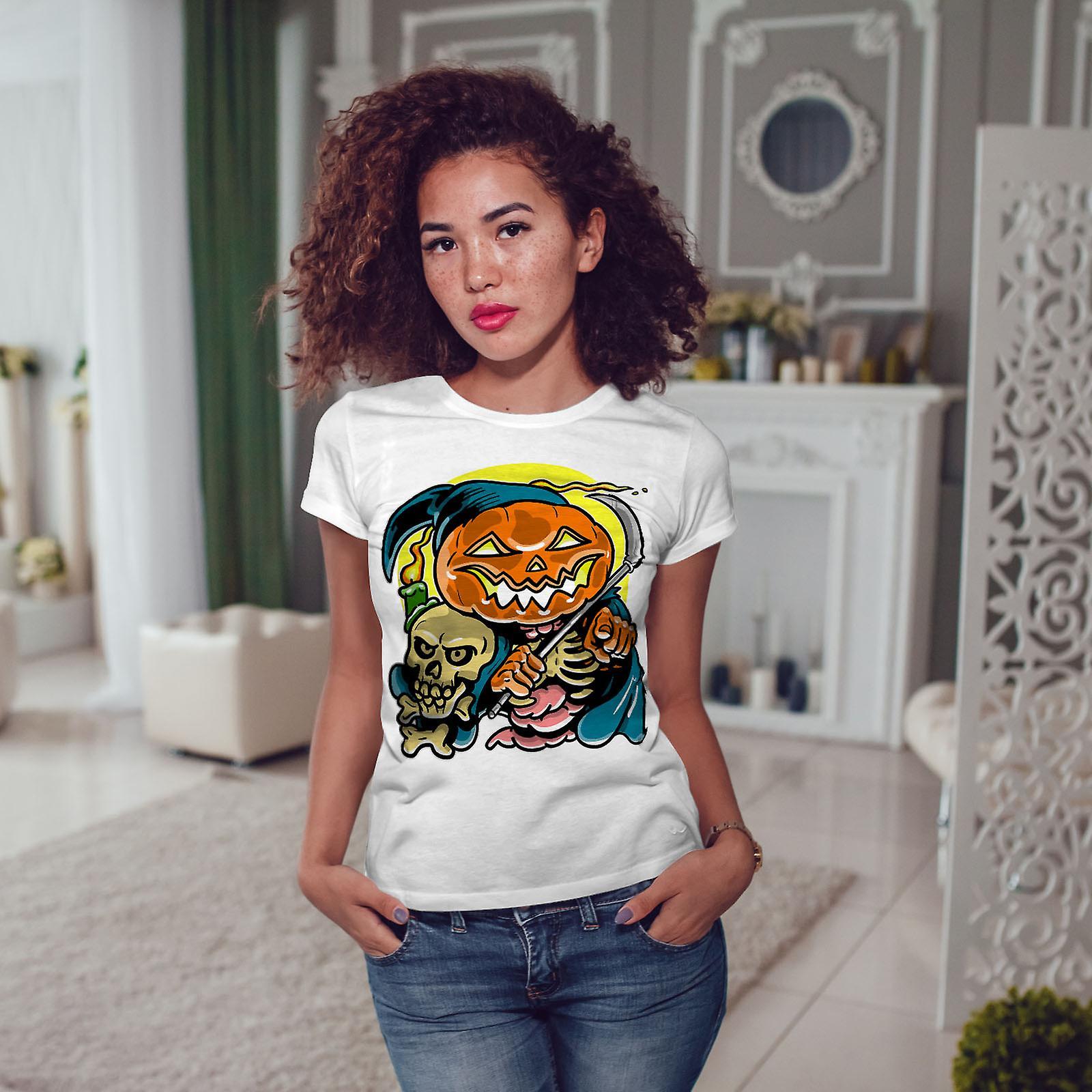 WhiteT-shirt femme Halloween Night   Wellcoda