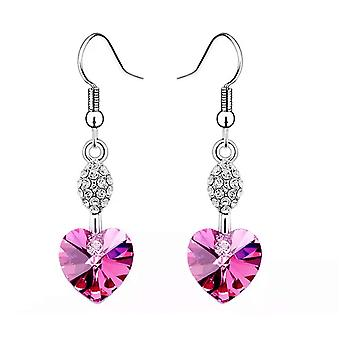 Heart Shaped Dangle Hot Pink Earrings Women Rhinestone Charm