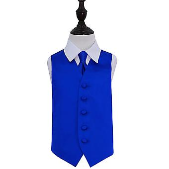 Royal Blue Plain Satin Wedding Vest & Tie Set voor jongens
