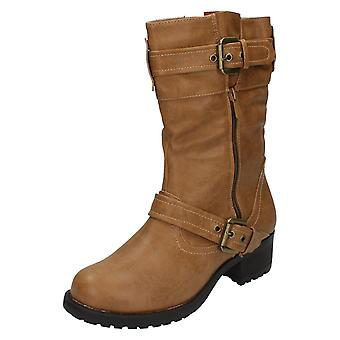 Ladies Spot On Chunky Heel Mid Calf Boots F50094