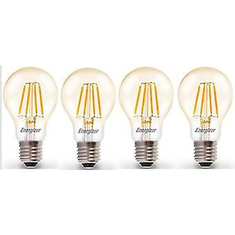 4 X Energizer LED Filament GLS Light Bulb Lamp Vintage ES E27 Clear 4.2W = 40W ES E27 Cap[Energy Class A+]