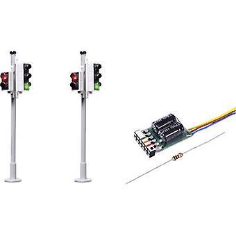Viessmann 5095 H0 2-delige set verkeerslichten + voetganger kruising prefab component