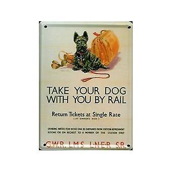 Tage din hund ved jernbane Metal postkort / Mini Tilmeld / Køleskabsmagnet