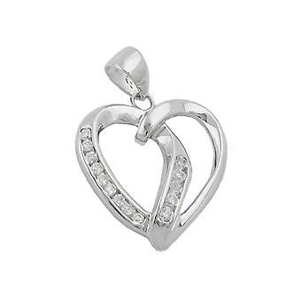 Glitter heart heart charm pendant 14 zirconias rhodium-plated 925 sterling silver