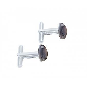 Herren - Manschettenknöpfe – 925 Silber – Achat – Grau – 18 mm