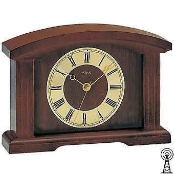 Shelf clock desk clock radio clock table clock Walnut varnished solid wood, mineral glass